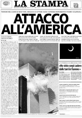 Prime pagine dei quotidiani | 11 Settembre 2001, un ...
